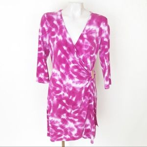 Calvin Klein tie dye faux wrap dress.         A128